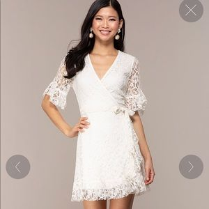 SHORT LACE WRAP DRESS WITH SLEEVES
